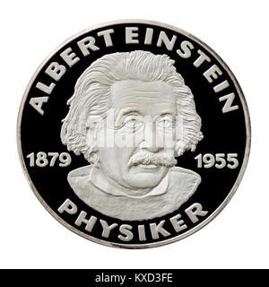 99,9% Beweis Silber Medaillon mit Albert Einstein (1879-1955), der berühmte deutsche Physiker. - Stockfoto