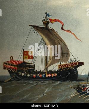 Mittleren Alters. Cog (Schiff). 11. bis 12. Jahrhundert. Illustration, 1879. Farbe. Europa. - Stockfoto