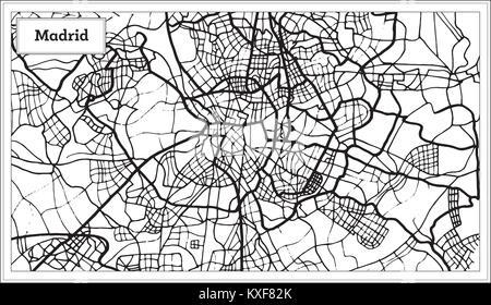 Spanien Karte Schwarz Weiß.Madrid Spanien Karte Im Retro Stil Vector Illustration Vektor