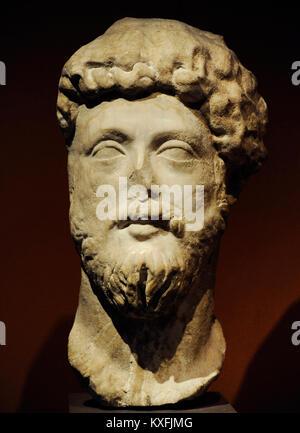 Marcus Aurelius (121 - 180). Römische Kaiser. Büste. Marmor. Unbekannter Künstler. National Gallery. Oslo. Norwegen. - Stockfoto