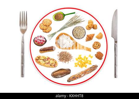 Teller mit Essen mit Gluten auf weißem Hintergrund - Stockfoto