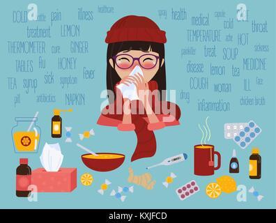 Junge Mädchen kalt erwischt die Grippe oder Virus. Behandlung der Krankheit - Stockfoto