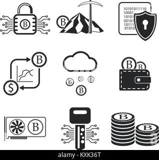 Bitcoin Icon Set. Crypto Währung und Bergbau Symbole. Vector Illustration EPS 10. - Stockfoto