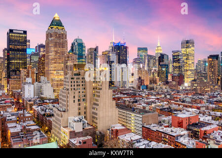 New York City, USA Midtown Manhattan Skyline über Hell's Kitchen. Stockfoto