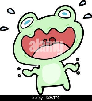 Cute cartoon Frosch Angst - Stockfoto