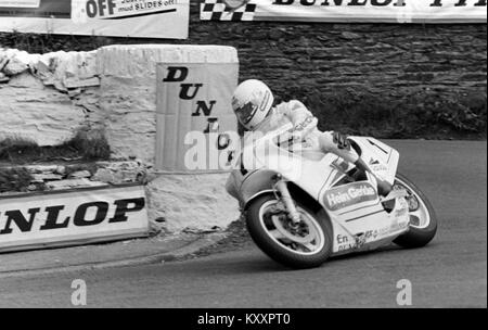 Klaus Klein, Motorrad Racer Rider 1986 Formel 1 TT Isle of Man TT Races, Tourist Trophy. - Stockfoto