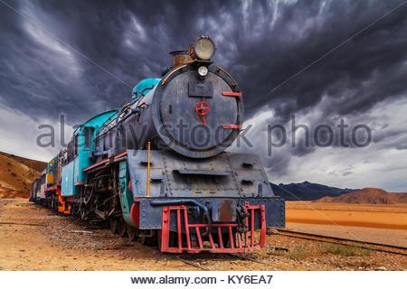 Lok Zug in Wadi Rum Wüste, Jordanien - Stockfoto