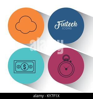 Satz von fintech Symbole - Stockfoto