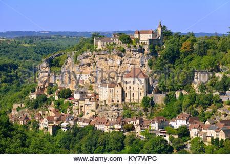 Rocamadour, einem wunderschönen französischen Dorf auf einer Klippe in Midi-Pyrenees, Frankreich - Stockfoto