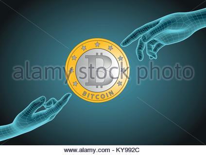 Futuristische Drahtmodell menschliche Hände zeigen jeweils eine ...