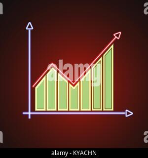 Finanzielle bar und Liniendiagramm Symbol Abbildung in leuchtenden Neon - Stockfoto