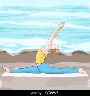 Yoga Pose, Frau zu tun die Splits Silhouette, vector ...