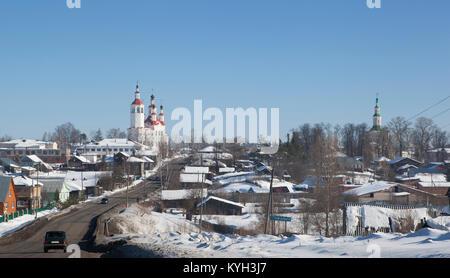 Blick auf die Stadt Totma, Vologda Region, Russland - Stockfoto