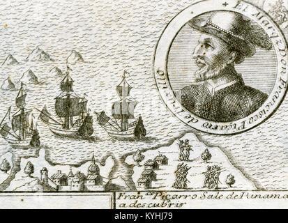 Francisco Pizarro y Gonzalez, 1 los Atabillos (c.1471 oder 1476-1541). Spanische Eroberer des Inkareiches und Gründer - Stockfoto