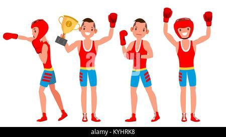 Boxer Ausbildung Vektor. Boxing Sport. Athleten in Aktion. Gesunde Lebensweise. Isolierte flache Zeichentrickfigur - Stockfoto