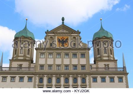 Nahaufnahme der Renaissance Architektur des Rathauses in Augsburg, Deutschland - Stockfoto