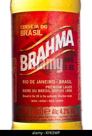 LONDON, Großbritannien - 10 Januar, 2018: Etikett von Brahma brasilianische Bier auf weißem Hintergrund. Wurde im - Stockfoto