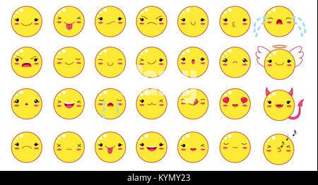 Lustige kawaii Stil Emoticons smileys eingestellt. Der gelbe Farbe mit lächelnden Gesichtern, rosa Wangen und Augen. - Stockfoto
