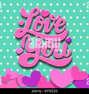 Liebe dich. Schriftzug Phrase auf bunten Hintergrund mit Papier Herzen. Valentines Tag Thema. Design Element für - Stockfoto