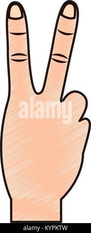 Zwei Finger bis Frieden Geste icon image - Stockfoto
