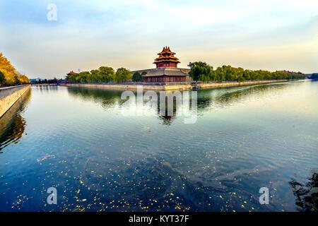 Pfeil Watch Tower Gugong Verbotene Stadt Graben Canal Plaace Wand Beijing China. Der Kaiserpalast in den 1600er - Stockfoto