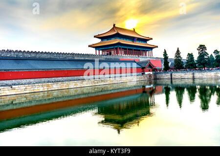 Hinteres Gatter himmlische Reinheit Gugong Verbotene Stadt Graben Canal Plaace Wand Beijing China. Der Kaiserpalast - Stockfoto