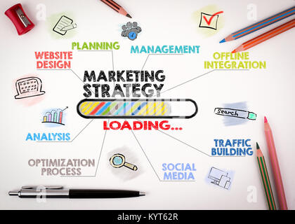 Marketing Strategie Konzept. Diagramm mit Stichworten und Symbole auf weißem Hintergrund - Stockfoto