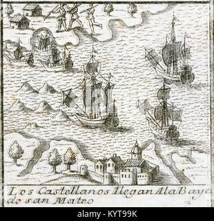 Eroberung des Inkareiches. Francisco Pizarro y Gonzalez, 1 los Atabillos (c.1471 oder 1476-1541). Spanische Eroberer - Stockfoto