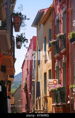 Bunte Gasse in Collioure, Pyrénées-orientales, Royal, Frankreich - Stockfoto