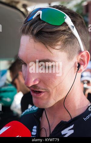 Unley, South Australia, Australien. 17 Jan, 2018. Jay nimmt McCarthy ein Interview zu Beginn der Stufe 2, Unley - Stockfoto