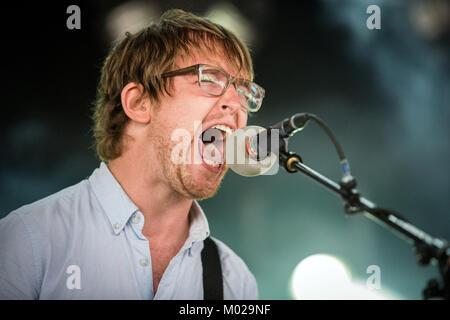 Die kanadischen Noise Rock und Punk Band METZ führt ein Live Konzert bei den Danish Music festival Roskilde Festival - Stockfoto