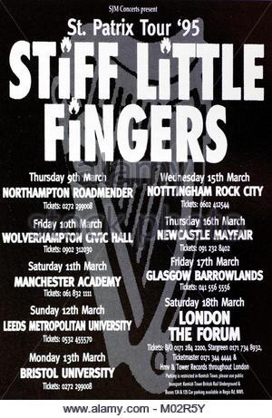 Zeitschrift Anzeige mit UK Tour Termine für Stiff Little Fingers 1995 - Stockfoto