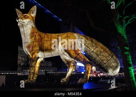 London, Großbritannien. 18 Jan, 2018. Lumiere London licht Festival kehrt zum zweiten Mal. Mehr als 50 Kunstwerke - Stockfoto