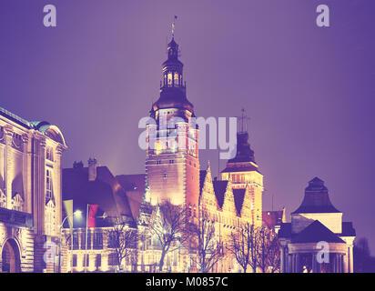 Szczecin (Stettin) Stadt in der Nacht, Vintage getonten Bild, Polen. - Stockfoto
