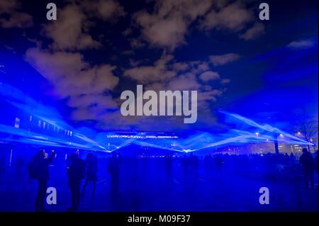 London, Großbritannien. 19 Jan, 2018. Standorte um Kings Cross in London mit spektakulären Licht zeigt durch erstklassige - Stockfoto
