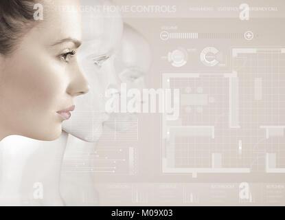 Frau und Roboter - künstliche Intelligenz Konzept - Stockfoto