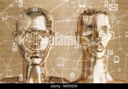 Künstliche Intelligenz Konzept - Globalisierung, Internet, Netzwerk - Stockfoto
