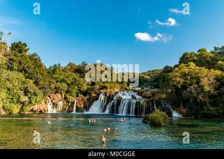 Schöne Skradinski Buk Wasserfall im Nationalpark Krka - Dalmatien Kroatien, Europa - Stockfoto