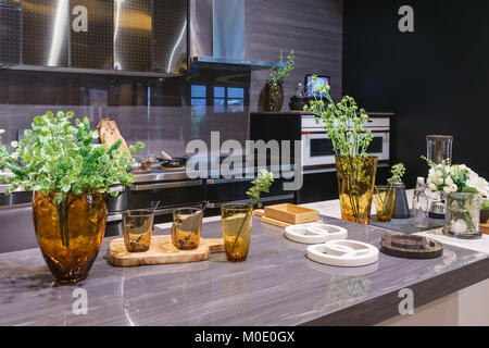 Moderne weiße Küche mit Induktionsherd und Design-Heizkörper Heizung ...
