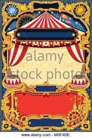 Zirkus Bearbeitbaren Rahmen. Vintage Vorlage Mit Zirkuszelt Für Kindergeburtstag  Einladung Oder Per Post. Qualität