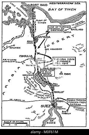 WWI-A 1917 Karte mit militärischen Aktivitäten in der 1914-1918 Erster Weltkrieg ERSTEN WELTKRIEG Karte der türkischen - Stockfoto
