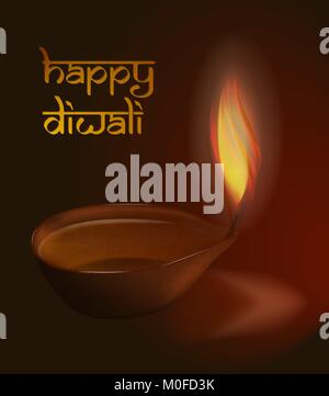 Brennende diya auf Diwali Urlaub Hintergrund Vektor Grafik mit Bildunterschrift Happy Diwali - Stockfoto