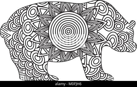 Cartoon-Doodle der Bär zum Ausmalen Stockfoto, Bild: 116428243 - Alamy