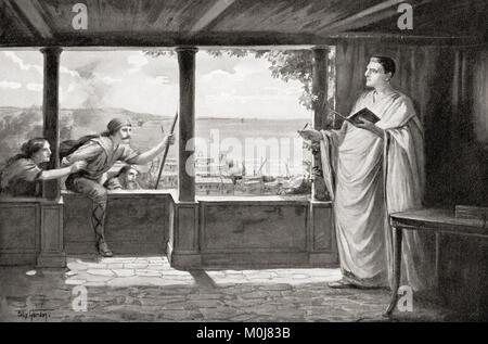 Ovid an Tomis am Schwarzen Meer, wo er in 8 AD verbannt wurde. Publius Ovidius Naso, 43 BC-AD 17/18, aka Ovid. Römischer Dichter. Von Hutchinson's Geschichte der Nationen, veröffentlicht 1915. Stockfoto