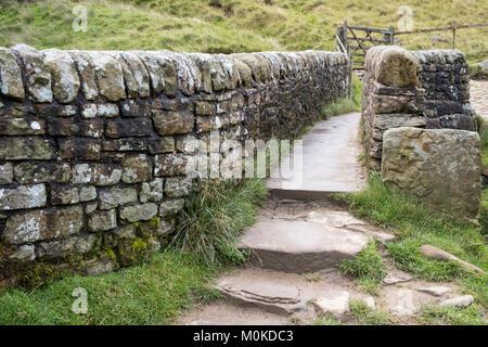 Enge, steinerne Fußgängerbrücke über den Fluss Noe in das Tal von Alfreton, Derbyshire, Peak District National Park, - Stockfoto