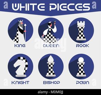 Weiße Schachfiguren: König, Königin, Bischof, der Ritter, rook. Der Vektor schach Symbole in einer flachen Stil - Stockfoto