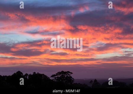 Ein herrlicher Sonnenuntergang leuchtet die Landschaft über McLeod Road, in der Nähe von Dänemark, Western Australia - Stockfoto