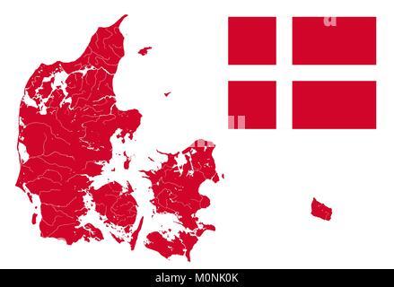 Zivil- und staatliche Flagge von Dänemark und sehr detaillierte ...