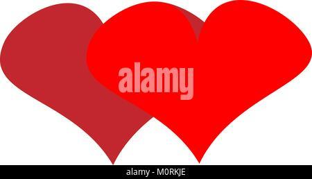 Zwei Herzen zum Valentinstag design Gratulation logo - Stockfoto