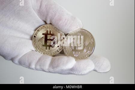 Silber Münzen Eines Digitalen Crypto Währung Litecoin Bitcoin
